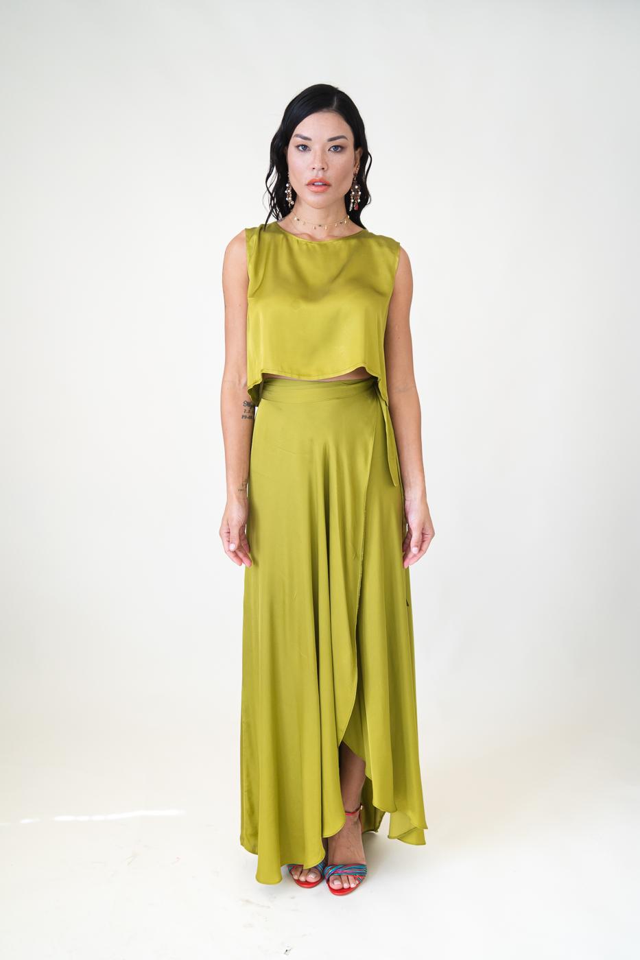 Ivy Wrap Skirt Light Green