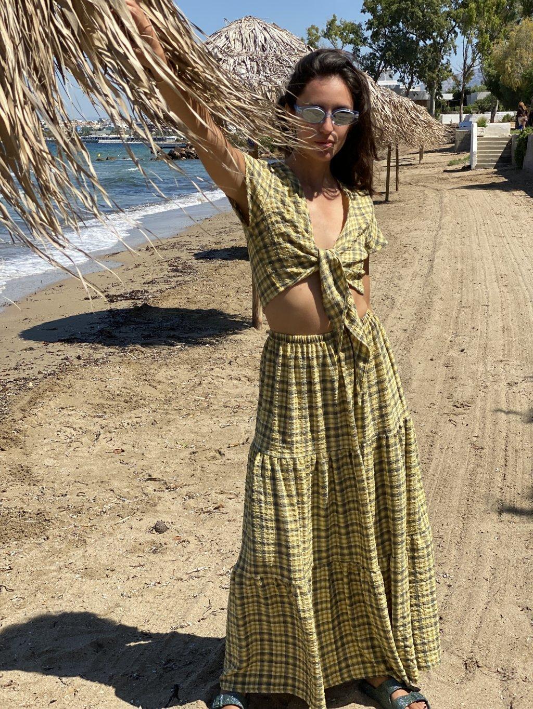 Celia Yellow/Chaki Skirt